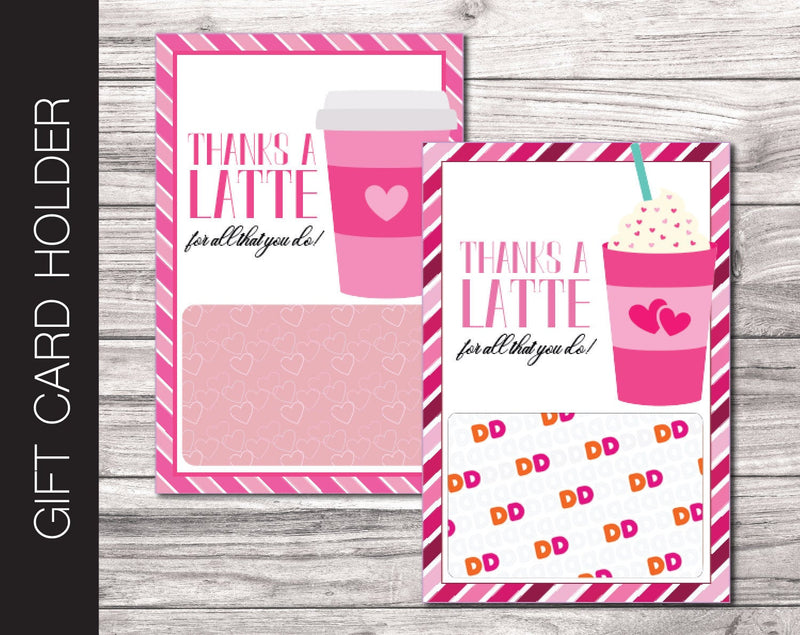 Printable Heart Themed Coffee Gift Card Holder - Kaci Bella Designs