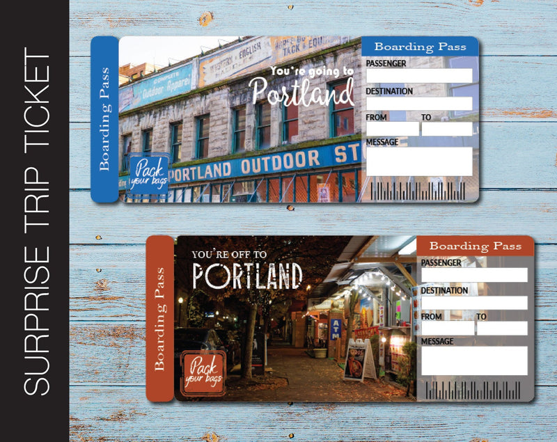 Printable Portland Surprise Trip Gift Boarding Pass - Kaci Bella Designs
