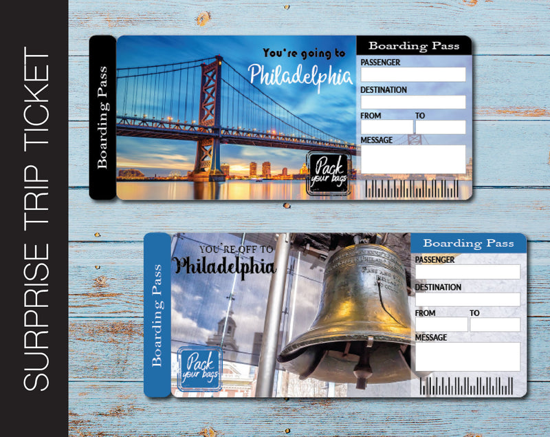 Printable Philadelphia Surprise Trip Gift Boarding Pass - Kaci Bella Designs
