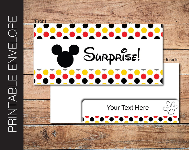 Printable Disney Gift Envelope - Kaci Bella Designs