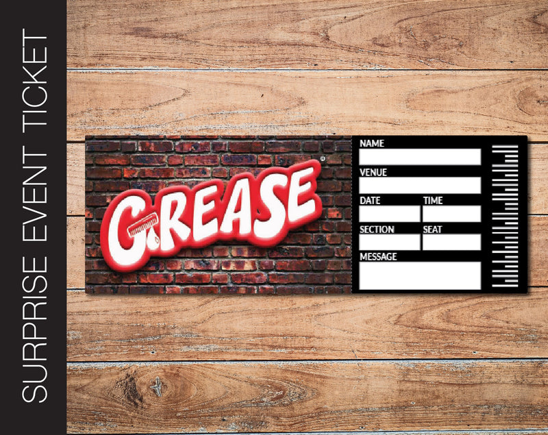 Printable Grease Broadway Show Gift Reveal - Kaci Bella Designs