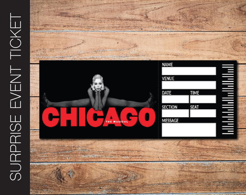 Printable Chicago Broadway Show Gift Reveal - Kaci Bella Designs