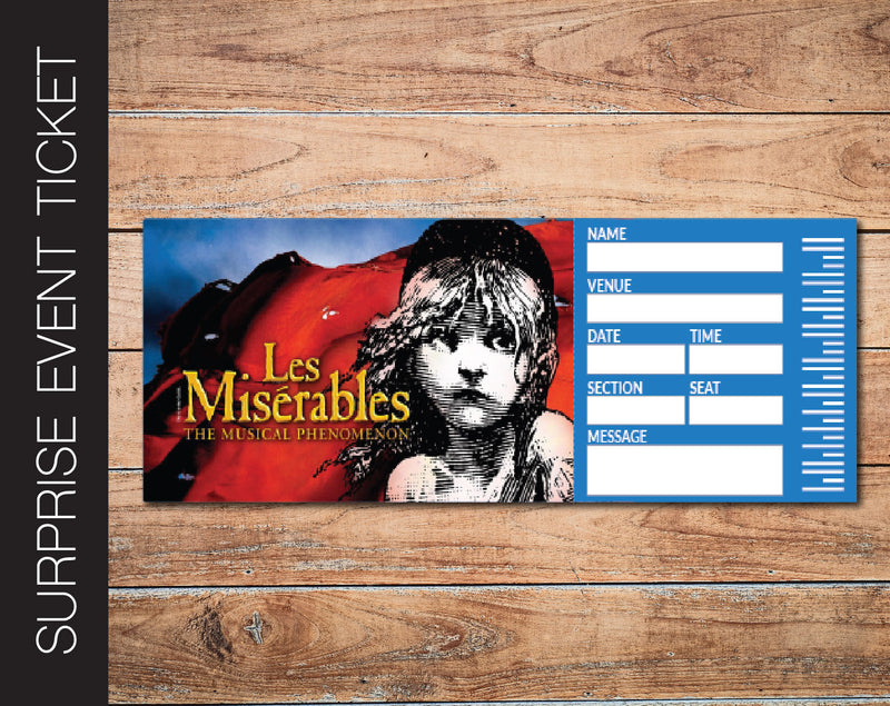 Printable Les Miserables Broadway Show Gift Reveal - Kaci Bella Designs