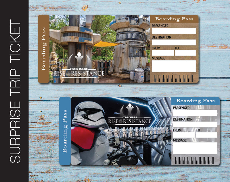 Printable Star Wars Rise of the Resistance Surprise Trip Ticket - Kaci Bella Designs