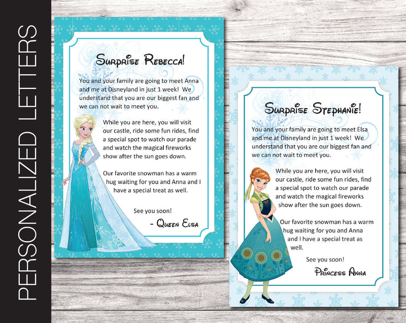Printable Elsa & Anna Personalized Letters Surprise Trip Reveal - Kaci Bella Designs