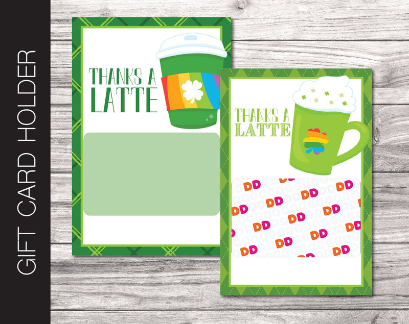 Printable Shamrock Theme Coffee Gift Card Holder - Kaci Bella Designs