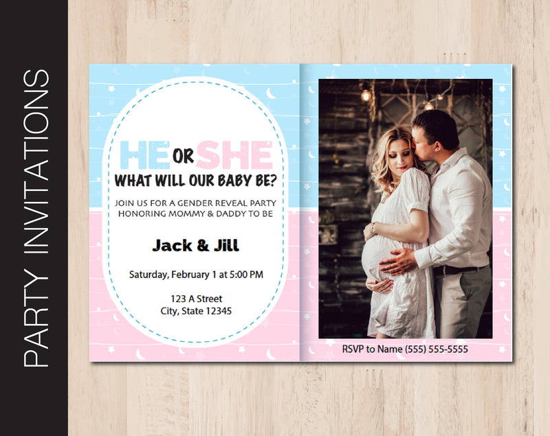 Printable Gender Reveal Party Invitation - Kaci Bella Designs