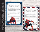 Printable Spider-Man Personalized Letters Surprise Trip Reveal - Kaci Bella Designs
