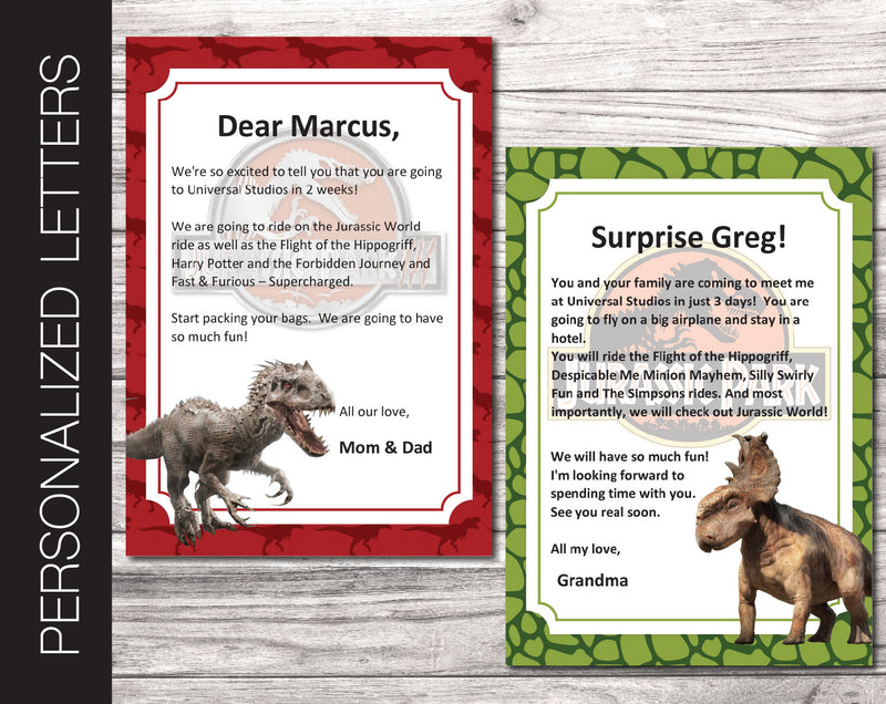 Printable Jurassic Personalized Letters Surprise Trip Reveal - Kaci Bella Designs