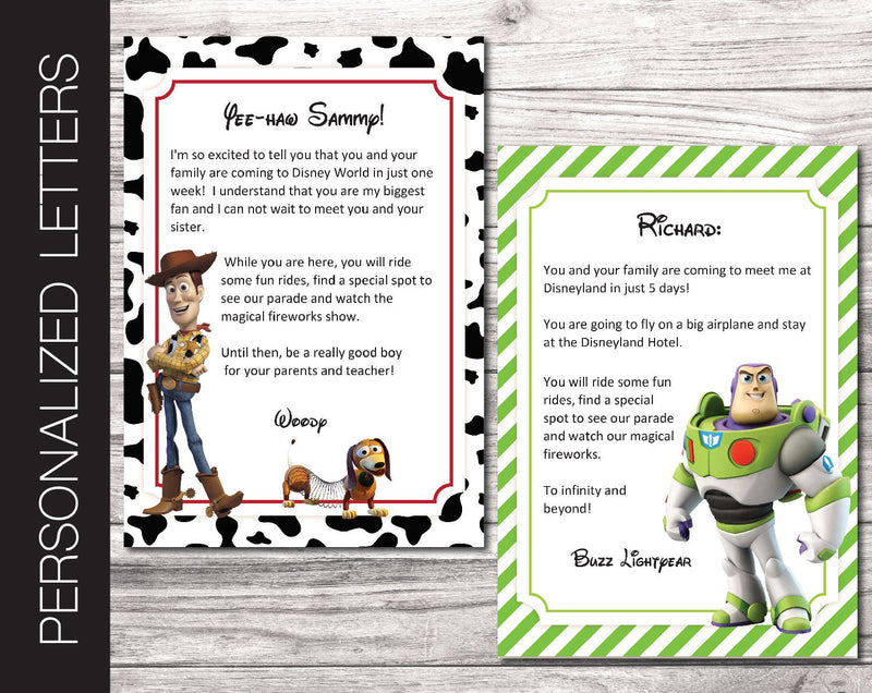 Printable Toy Story Personalized Letters Surprise Trip Reveal - Kaci Bella Designs