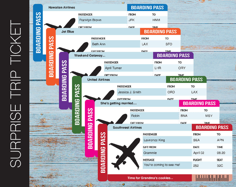 Printable Airline Surprise Trip Gift Ticket - Kaci Bella Designs