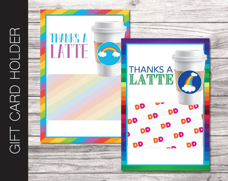 Printable Rainbow Theme Coffee Gift Card Holder - Kaci Bella Designs