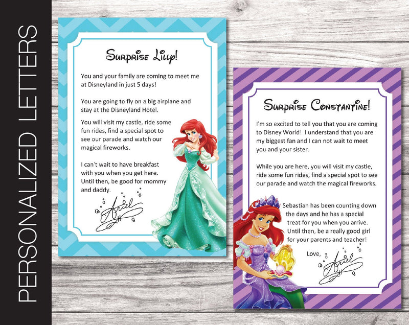 Printable Ariel Personalized Letters Surprise Trip Reveal - Kaci Bella Designs