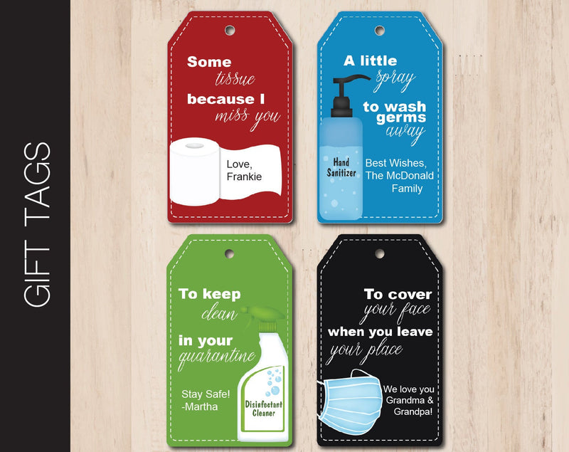 Printable Quarantine Supplies Gift Tags - Kaci Bella Designs