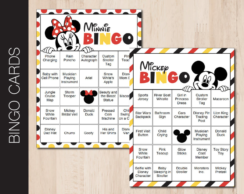 Printable Mickey & Minnie Mouse Themed Editable Bingo Cards - Kaci Bella Designs