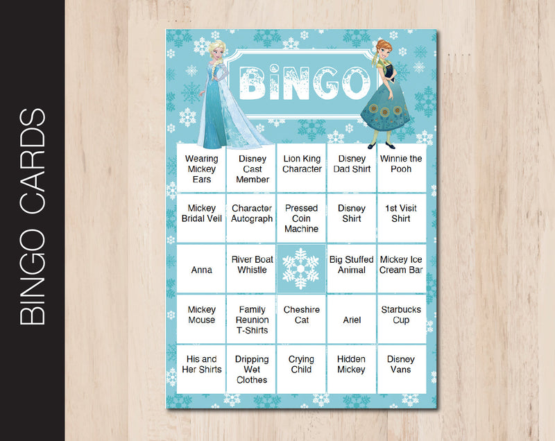 Printable Frozen Themed Editable Bingo Cards - Kaci Bella Designs