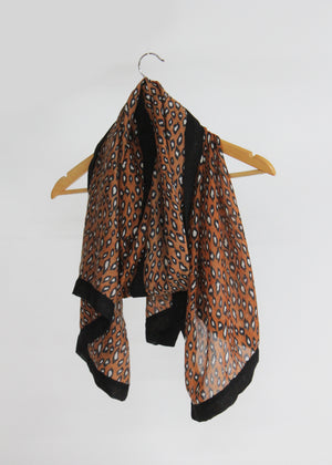 Animal Print Scarf with Border
