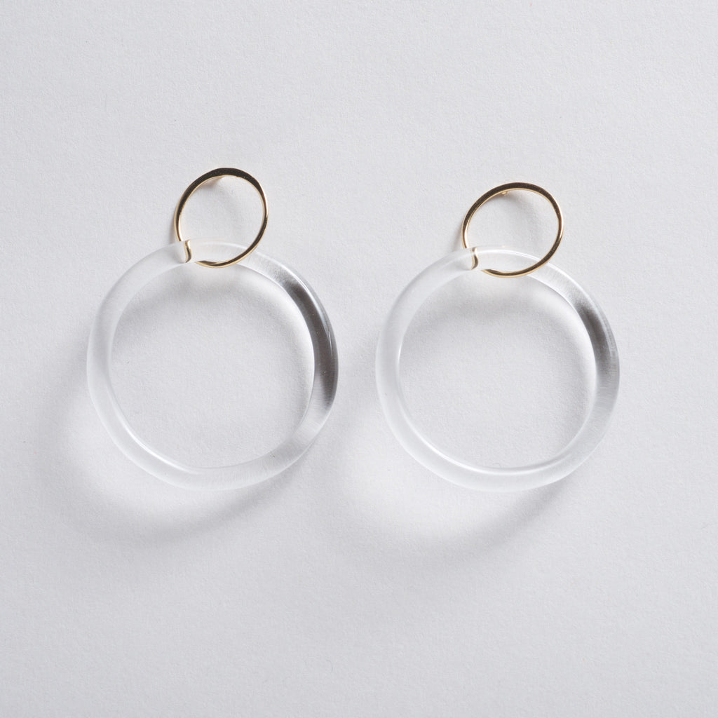 GLAZ Hoop Stud Earrings - Gold
