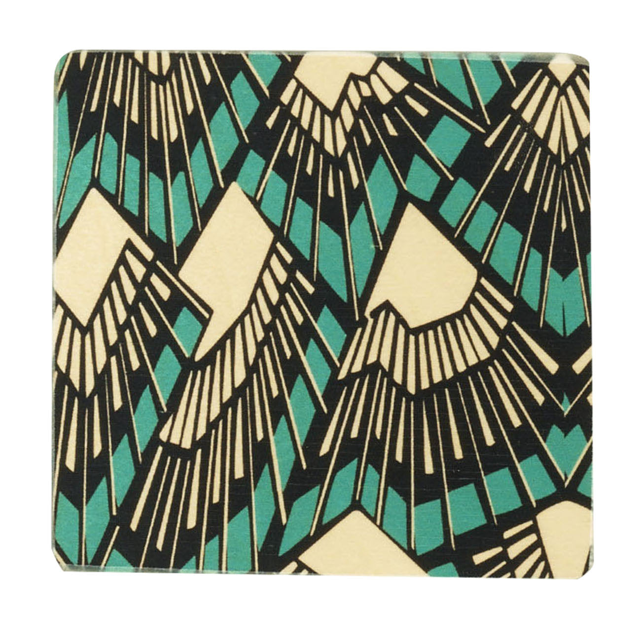 deco teal coasters, set of four