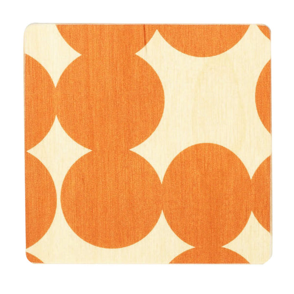 orange dot coasters, set of four