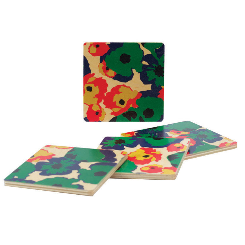 poppy green coasters, set of four