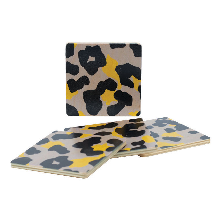 cheetah grey coasters, set of four