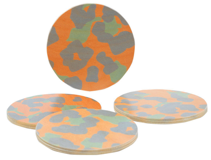 cheetah peach coasters, set of four