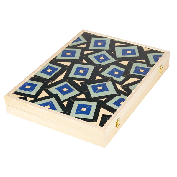 alma blue tabletop backgammon