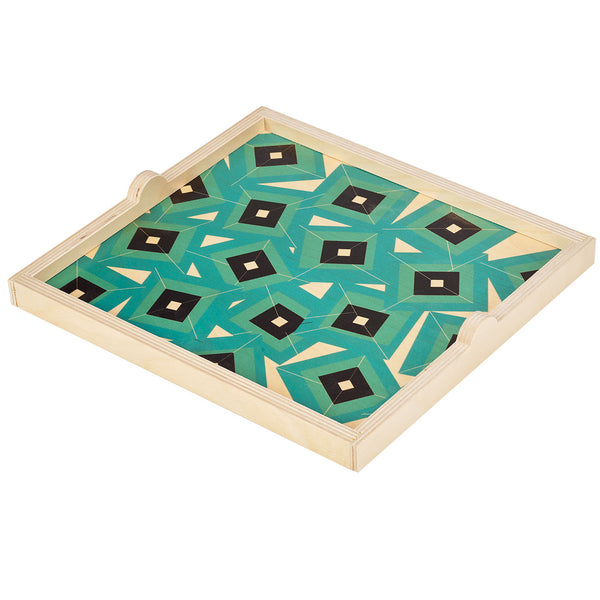 alma teal square tray