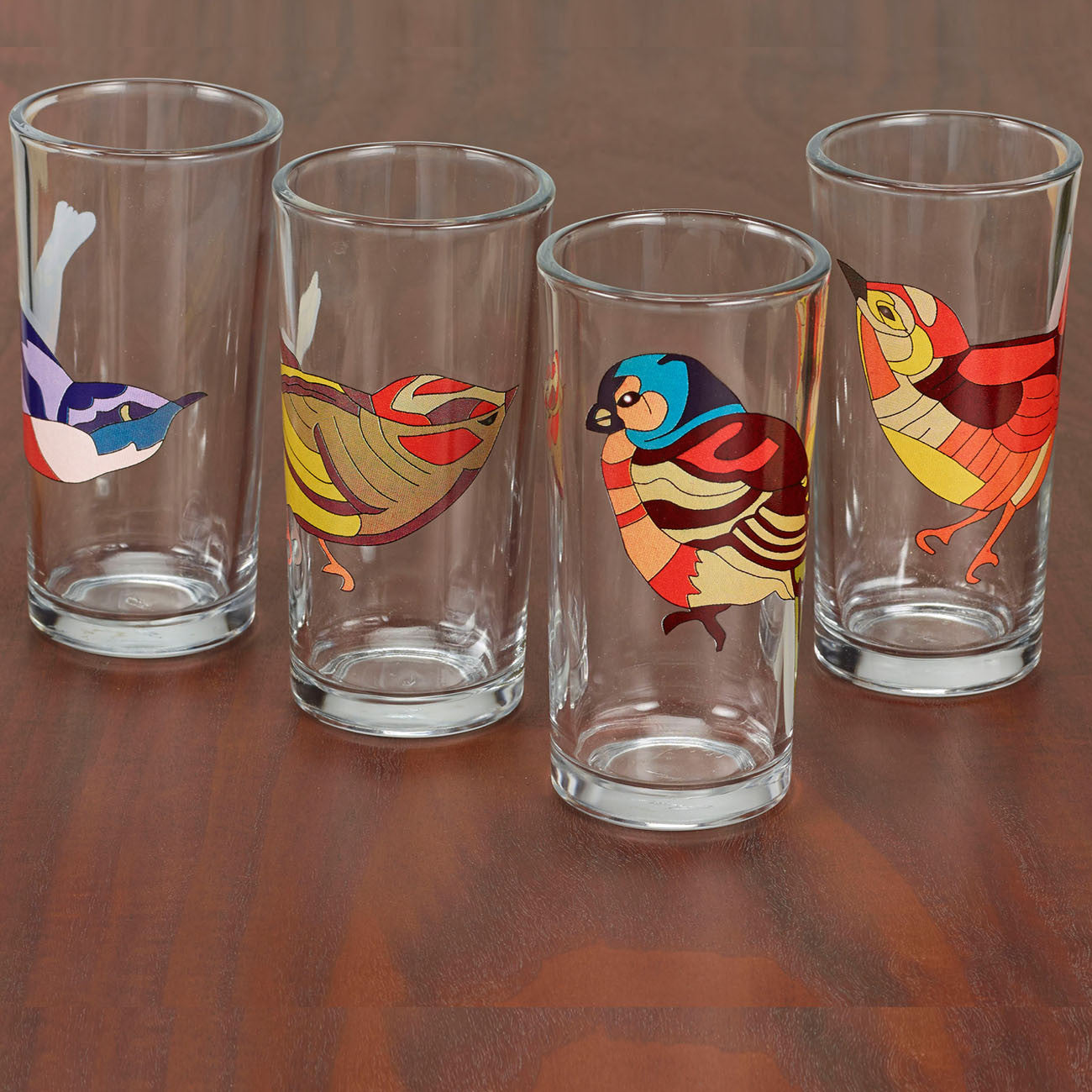 bird's nest glasses, set of four