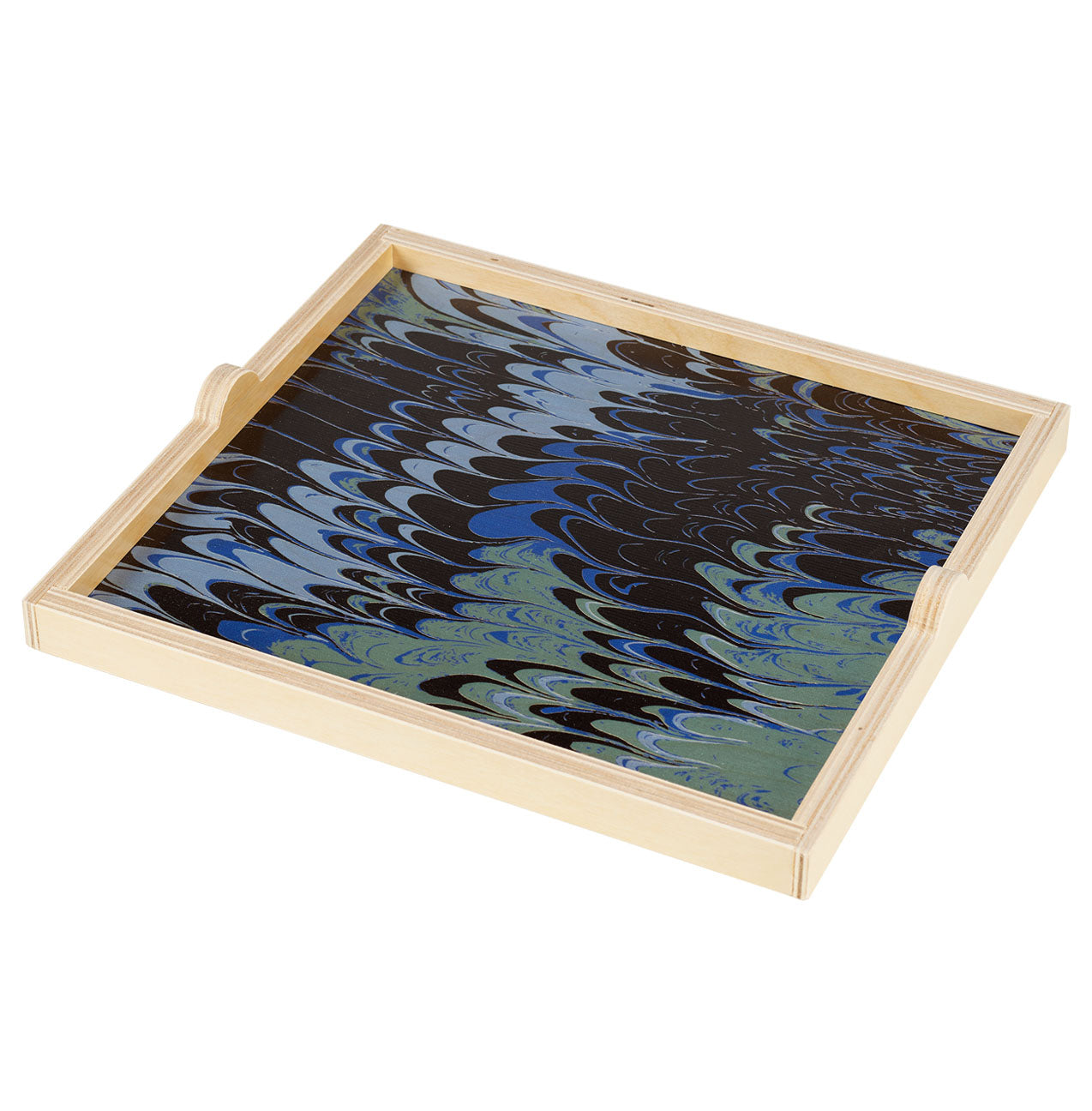 blue marble square tray