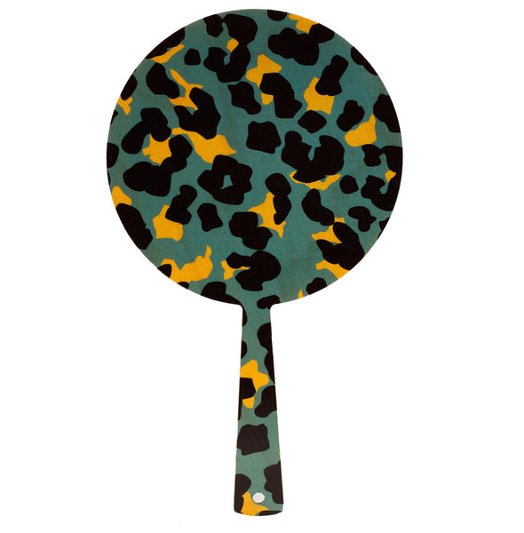 cheetah teal hand mirror