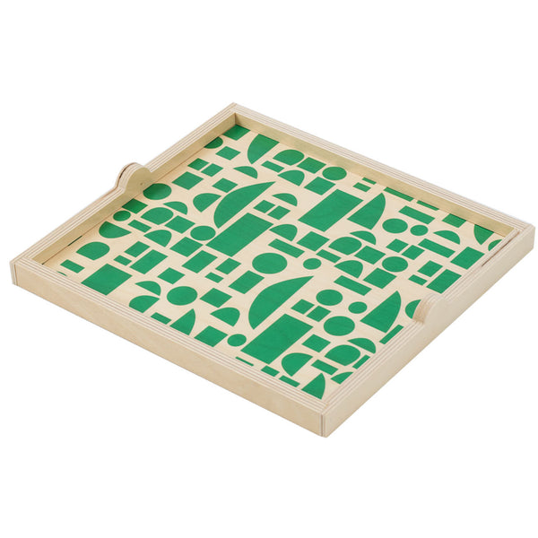 green blocks square tray