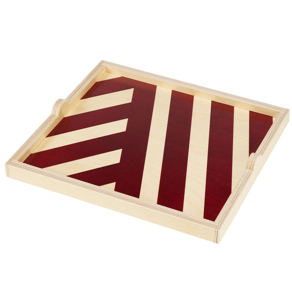 maroon stripe square tray