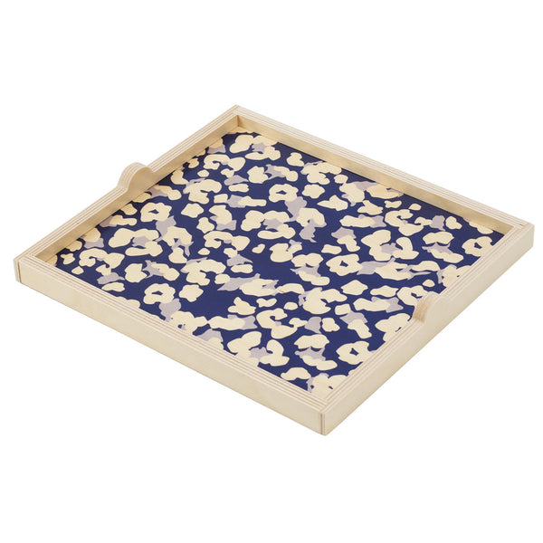 navy cheetah square tray