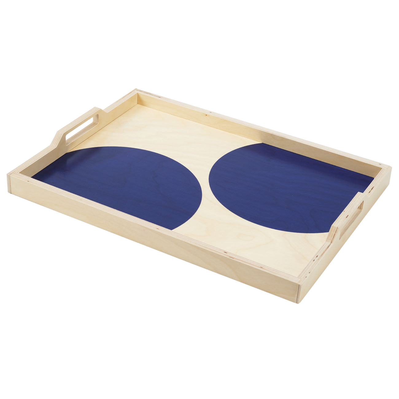 navy dot serving tray