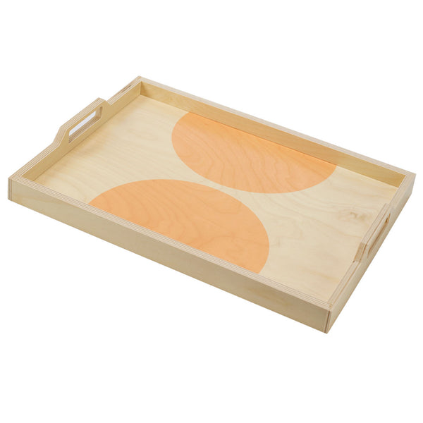 peach dot serving tray