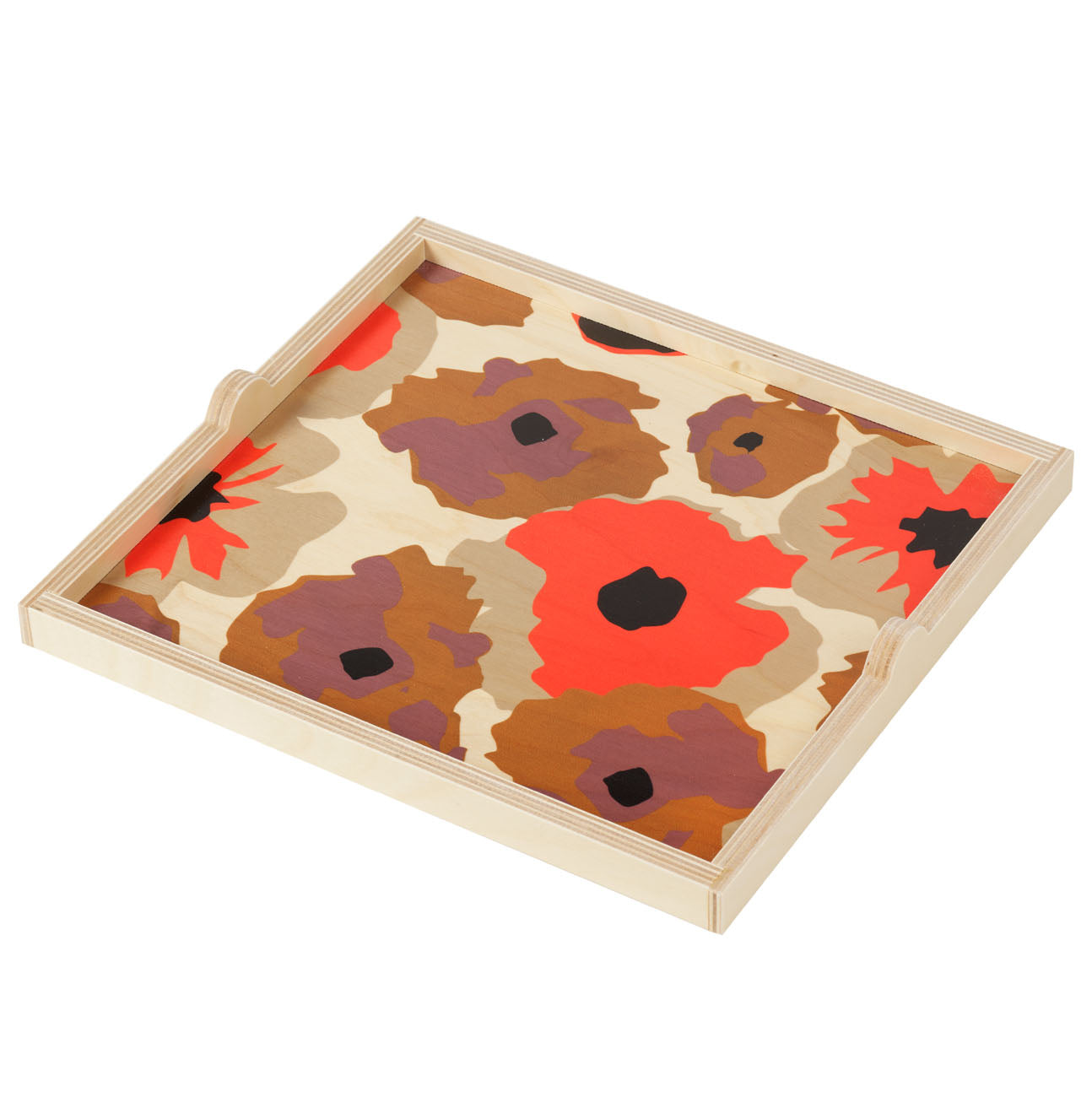 poppy orange square tray
