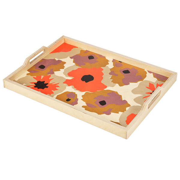 poppy orange serving tray