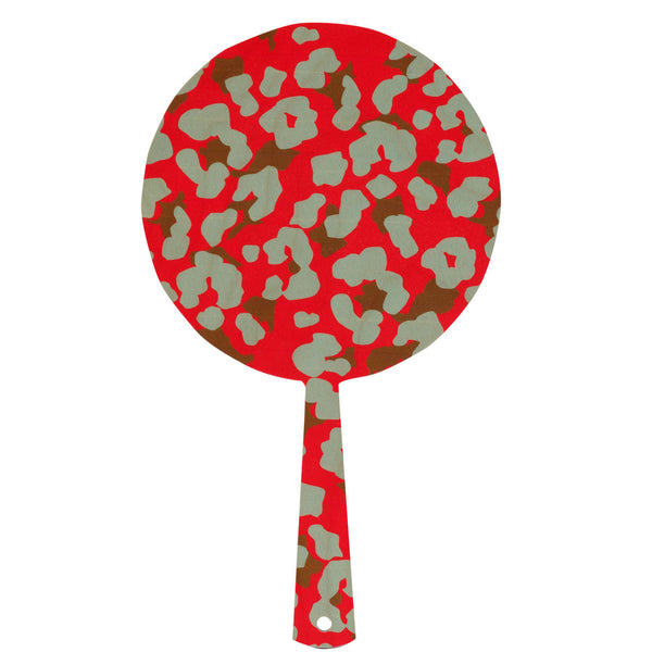 cheetah red hand mirror