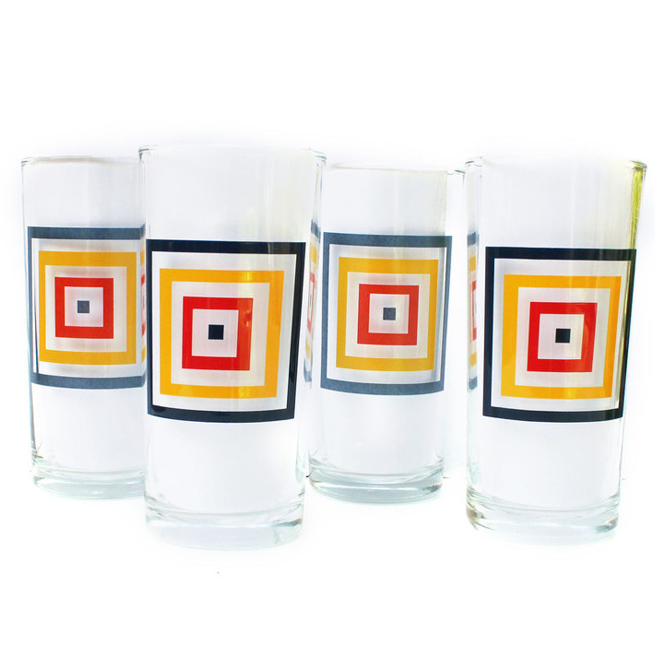 squaresville drikning glasses, set of four