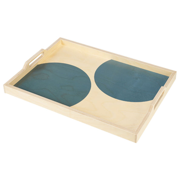 teal dot serving tray