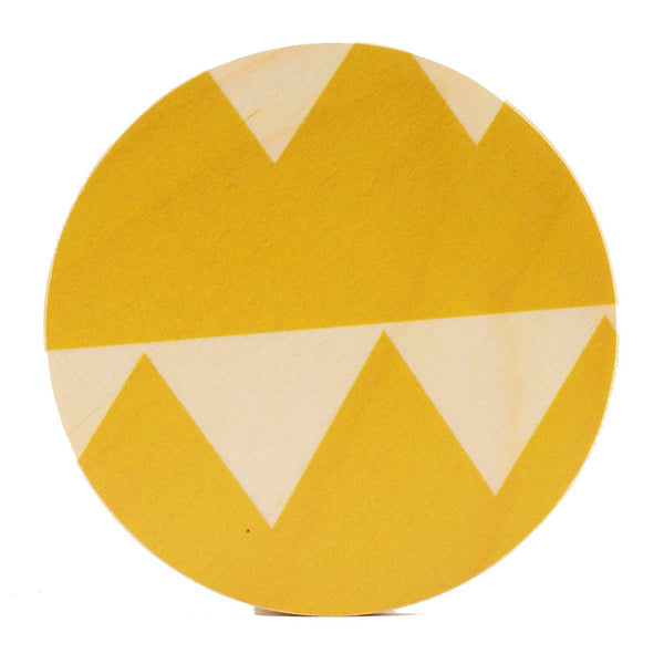 yellow triangle coasters, set of four
