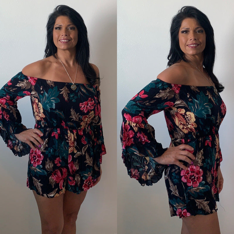 Eye catching floral romper | Bailleaux's Bodacious Boutique