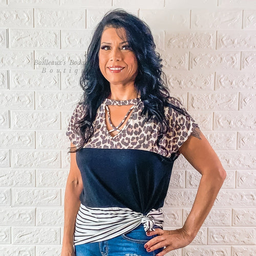 Leopard color block top short sleeves - Bailleaux's Bodacious Boutique