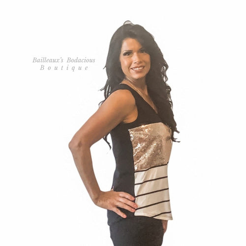 Black and rose gold sequins color block tank top - Bailleaux's Bodacious Boutique