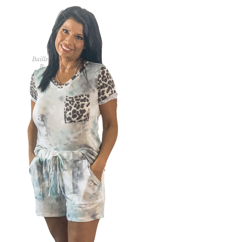 Colorful tie die with leopard trim set - Bailleaux's Bodacious Boutique