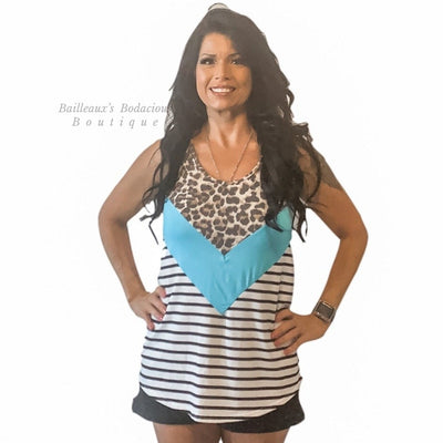 Leopard and teal color block and stripes top - Bailleaux's Bodacious Boutique