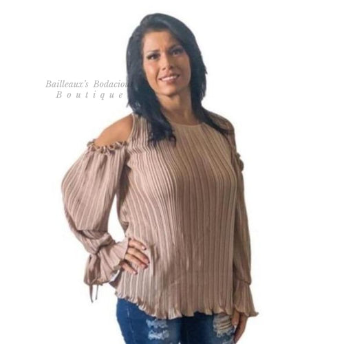 Beige Pleated blouse - Bailleaux's Bodacious Boutique