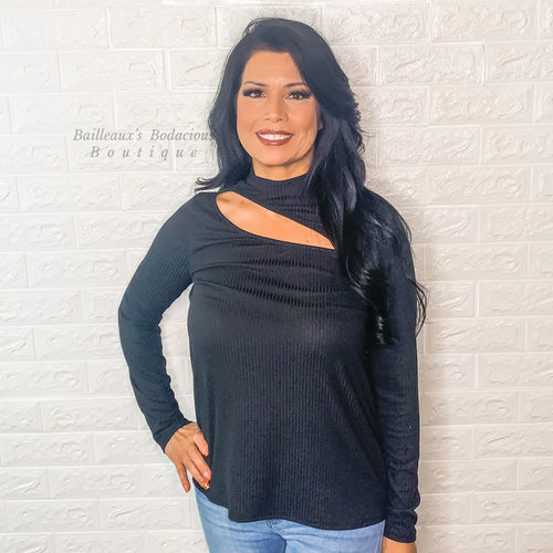 Black ribbed knit top with front neck cut out - Bailleaux's Bodacious Boutique